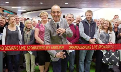 Kevin M celebrates a decade of Grand Designs Live at the official launch of the show at the NEC Birmingham (open 8th-11th October).